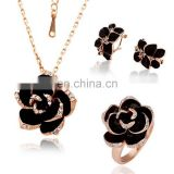 Jewelry set 2015 fashion rhinestone rose gold enamel jewelry set
