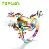 Topearl Jewelry Personalized Design Ring Stainless Steel Ring Rainbow Color Frog Ring MER437