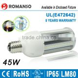 UL listed E40 E27 5 years warranty LED Corn light bulb Samsung SMD2835 chip 45w led street lighting