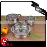 Best quality 6pcs stainless steel capsulated induction color silicone handle cookware set