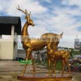 Bronze animal sculpture of deer mother and baby