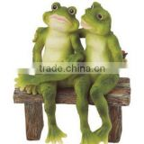 2 Frogs on Bench Garden Decoration Collectible Figurine Statue Model                                                                         Quality Choice