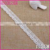 "Garment accessy 0.53"" Small Order In Stock 100% Cotton Lace,Wholesale Cheap Crocheting Cotton Woman Dress Decoration Trim"