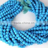 "Beautiful 5 Strands Synthetic Blue Turquoise Loose Beads,14"" Long Round Ball Gemstone Beads,Birth Stone December"