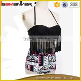 USA swimwear manufacturer high cut tied young girl sexy bikini with long tassel                                                                                                         Supplier's Choice