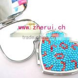 mini bling rhinestone small heart craft pocket mirrors