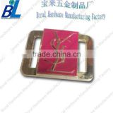 Rectangle metal bag buckle strap adjust with pink enamel