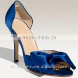 Satin material bow toe high heel ladies sandal shoes for 2015 summer