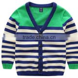 cotton knitted boy long sleeve stripes sweater cardigan children plain knited sweater school cardigan boys cardigan