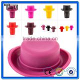 High Quality Hat Shape Silicone Wine Bottle Stopper/Novelty Food Grade Wine Bottle Stopper