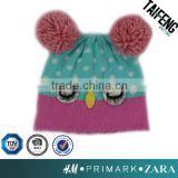 Lovely Girl animal jacquard knit hat/ acrylic owl face knitted beanie with pom pom ears