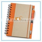 Wholesale office and school supplies imprint kraft paper cover spiral note book with pen