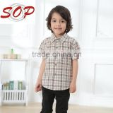 New dress cotton shirt printing Kid's Plaid Shirt boy boutique clothing in summer                                                                         Quality Choice