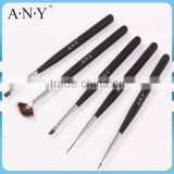 ANY Nail Art Painting Design Nail Artist Using Black Wood Handle 5PCS Nail Art Brush Kit