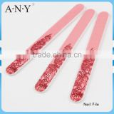 Nail Shape and Polishing Leaves Printing Pink Sandpaper Nail File Customized
