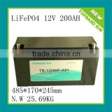 High quality 12v 200ah LFP/lithium ion phosphate battery with PCM and SLA housing China supplier