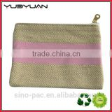 2015 Wholesale hot selling trendy gold zipper 100% natural cotton canvas promotional gift coin purse