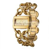 luxury IP plated Gold chain bracelet watch rectangle female hours lady wrist watch supplier