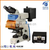 Two headed fluorescence microscope with B G UV V Epi fluorescent device 100W Mercury lamp