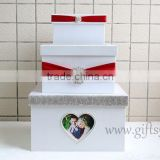 Elegant wedding money box with heart shape photo frame
