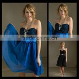 Free shipping Modern A Line Strapless Blue Black Mini/Short Bows Bridesmaids Dresses bm00025