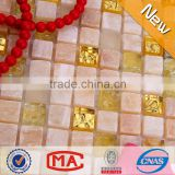 HFJTC-1302 jade stone mix clear glass and waterproof golden select mosaic wall tile beauty glass stone mosaic kitchen wall tiles