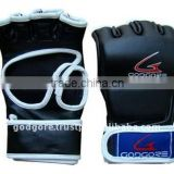 Specially Developed Velcro Closure Soft Durable Lining Training and Competition Black Leather MMA Grappling Gloves