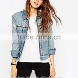 girls hot fashion light blue denim jacket light wash denim jacket stone washed denim jacket
