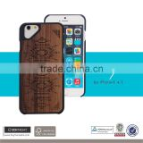 Hot sale cell phone funky PC Wood slim armor unique laser pattern free sample case for iphone 6 6s