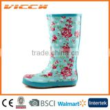 Pink beautiful summer flower Lady`s rubber rain boots
