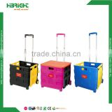 Pack and roll collapsible portable foldable folding plastic grocery shopping trolley cart with wheels