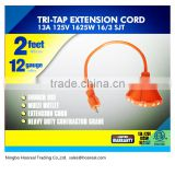 TRI-TAP Orange Color 2 ft 12 Gauge Indoor /Outdoor Multi Outlet Extension Cord Heavy Duty Contractor Grade Adaptor Cord Set ETL