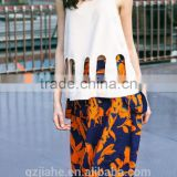 NEW Fashion Casual High Waisted A -line skirt printed women dress +hollow-out hem sleeveless tops