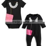 Newborn Baby Clothes Pearl Necklace And Purse Graphic Baby Bodysuit Baby Girls Romper Kids Clothing 2016 HSD5621