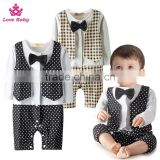 Wholesale Gentlemen Boys Long Sleeve Bodysuit Waistcoat Necktie Infants Rompers Baby Boys Suit