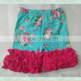 icing shorts baby wholesale froral print girls ruffle green shorts cotton leggings pants