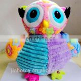 colorful with flowers embossed fabric rag doll soft big eyes owl plush stuff animal toys