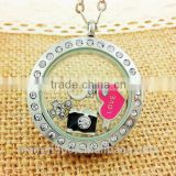 unique jewelry silver round Alloy diamond floating locket memory lockets crystal pendant