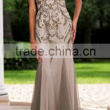 2016 super Luxurious beaded with backless chiffon lady evening hand made dress