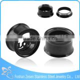 wholesale black plated single flare flesh ear tunnel love alphabet body jewelry