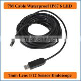 7M Cable Length 7mm Len Waterproof Mini USB Endoscope Inspection Pipe Camera Borescope Tube Snake Scope With 6 LEDs Night Vision