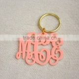 Hot sale lovey pink laser cut monogrammed acrylic key chain