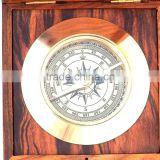 Antique Nautical Solid Brass compass- Admiral's Desk Compass With Rosewood Box 13410