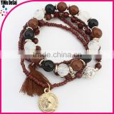 Hot saling elastic bead bracelet with tassel fashion jewelry accessory
