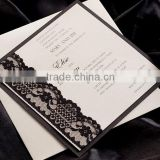 2016 newmengxing wedding invitation lace cards, muslim wedding invitation card, black lace