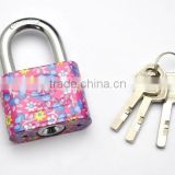 Top Selling Luxury Quality Custom-Made colorful Small Round Corner Flower Pattern Printing Iron Padlock