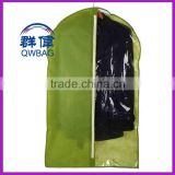 Customized logo tote zipper clear dustfree garment bag, anti-dust suit cover with pockets