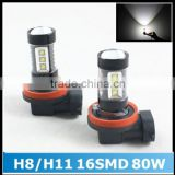 Super Bright White H8 H11 80W 16pcs OSRAM Chips LED Car Fog Light Fog Lamp LED Headlight