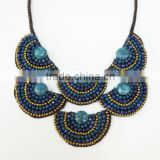 Blue Agate Stone with Crystal and Natural stones Wax cotton thread with mixed natural stone, Stone necklace WT48