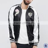 latest design satin bomber jacket wholesale zip fastening baseball collar bomber jacket with embroidery details                                                                         Quality Choice
